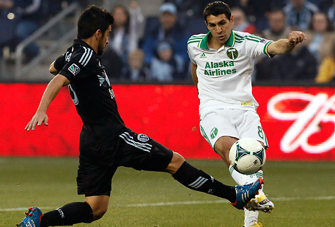 Diego Valeri, right, helped the Portland Timbers to an unlikely 3-2 away win over Sporting Kansas City.