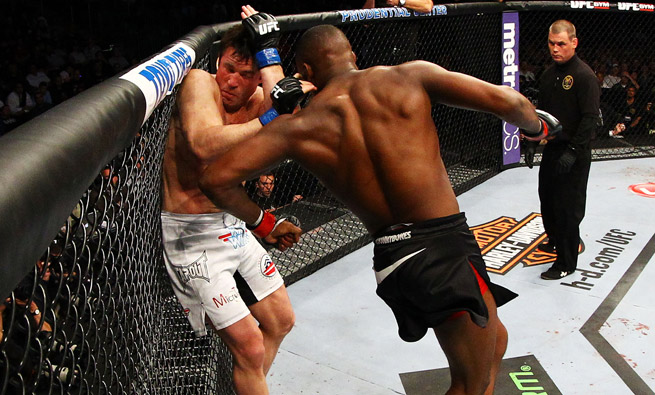 Make it five straight title defenses for Jon Jones (right), who beat Chael Sonnen at UFC 159.