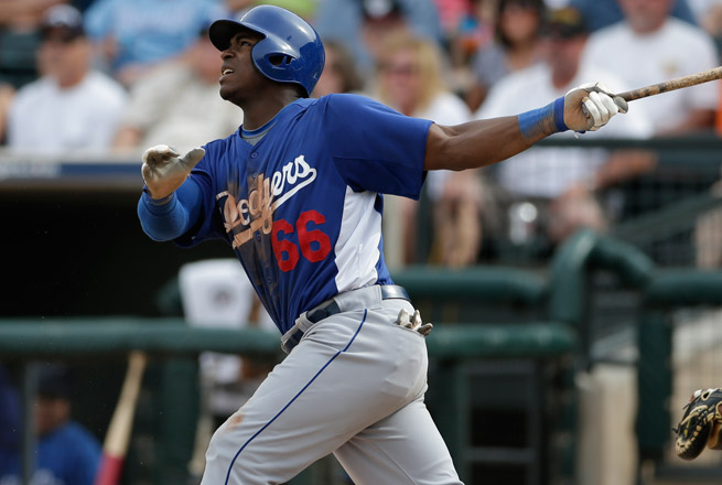 Yasiel Puig is hitting .333 with three home runs for Los Angeles' Double-A affiliate in Tennessee.