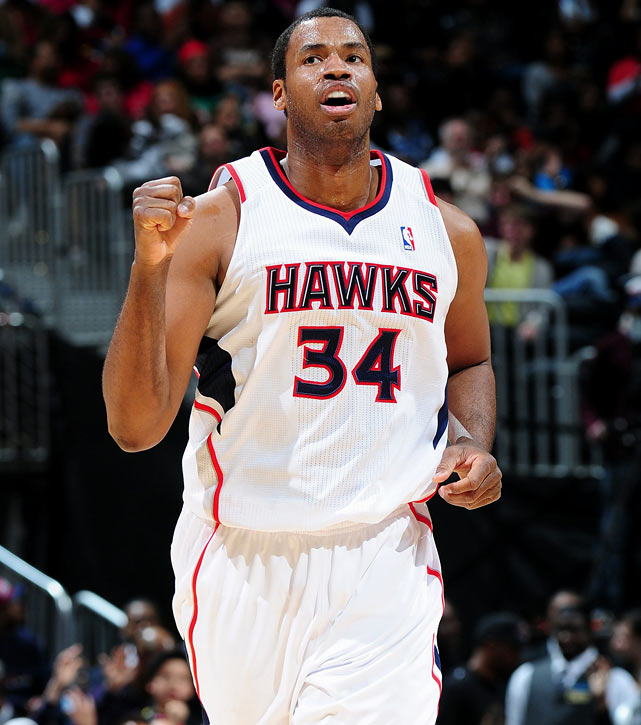 Jason Collins, playing with the Hawks, reacts during a game against the Magic in 2010.