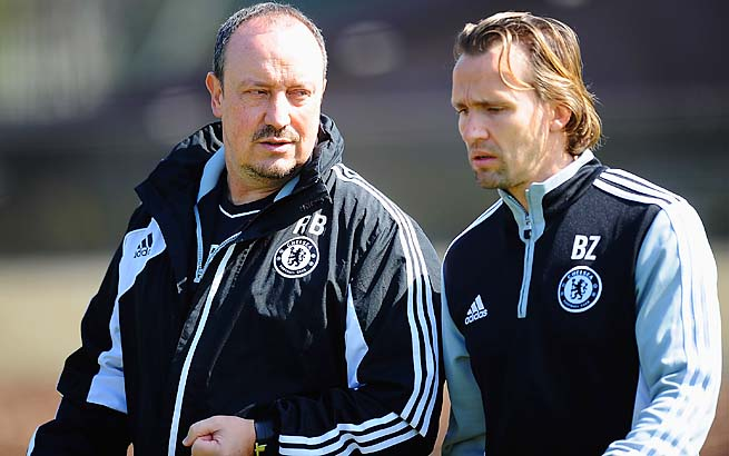 Rafa Benitez (left) and Chelsea are in third place in the Premier League