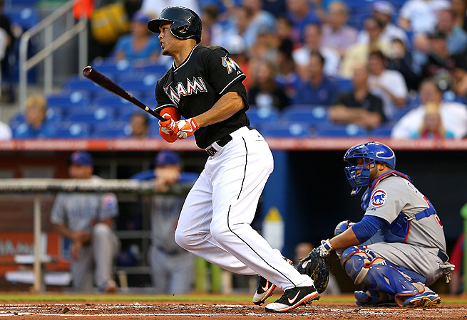 Through 20 games played, Giancarlo Stanton was hitting .227 with three home runs and nine RBI.
