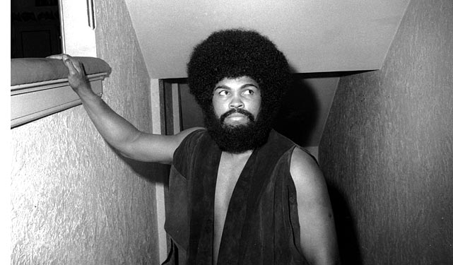 Muhammad Ali wears a wig and beard for his acting debut in the Broadway musical Buck White in December 1969.