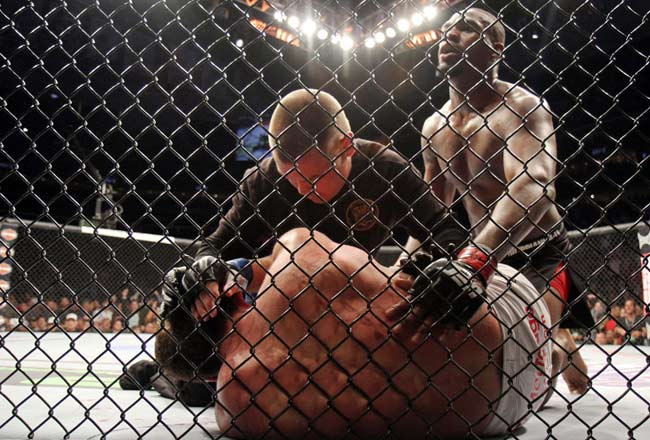 Jon Jones (right) dominated Chael Sonnen from start to finish during their UFC 159 main event bout.