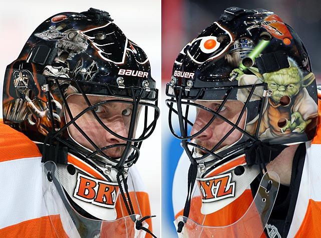 "<italics>May the 4th is something of a holiday in the Star Wars fan community ? ""May the fourth be with you,"" as the joke goes. Here are some photos of Star Wars characters and fandom appearing in sports over the years.</italics> Flyers goalie Ilya Bryzgalov donned a Star Wars themed mask during the 2013 NHL season."