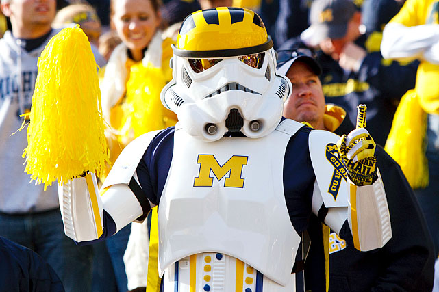 A Michigan Wolverines fan shows his support as a stormtrooper during a football game against the Iowa Hawkeyes at Michigan Stadium in Ann Arbor, Mich., on Nov. 17, 2012.