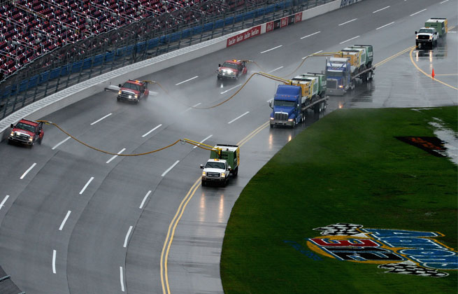 Rain Saturday washed out qualifying at Talladega Superspeedway, so the field was set by practice speeds.