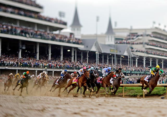 Rain made for a sloppy track on a cool, overcast Saturday afternoon at Churchill Downs.