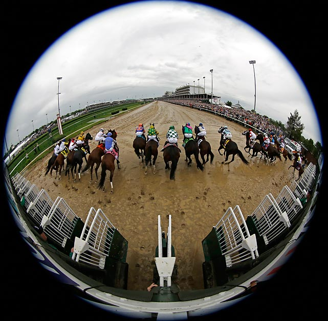 The field of 19 leaves the gates for the running of the Kentucky Derby. Eventual winner Orb started from the 16th post position.