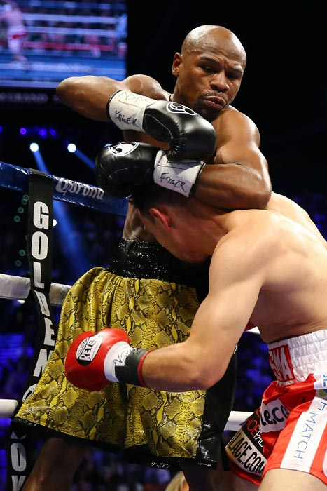 Floyd Mayweather defended his welterweight title with an easy victory over Robert Guerrero at the MGM Grand in Las Vegas.
