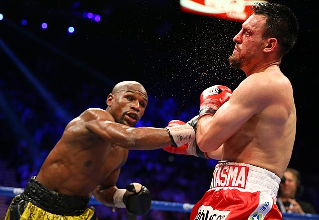 Guerrero was cut over his left eye in the eighth round, when Mayweather seemed on the verge of stopping him.
