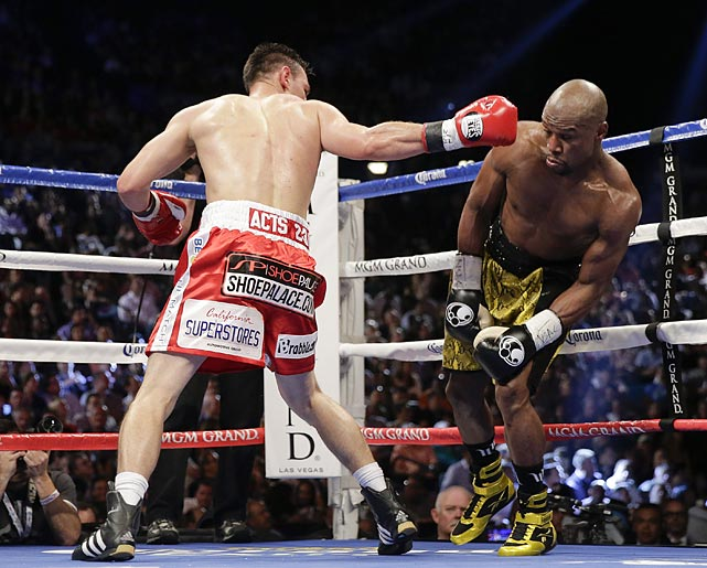 Mayweather was booed at times for not mixing it up more. He was content to move and land jabs and right hand leads, while Guerrero grew increasingly frustrated trying to chase him.