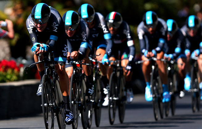 Wiggins's Sky team  finished in 22 minutes, 5 seconds along the picturesque 10.8-mile route on the island of Ischia.