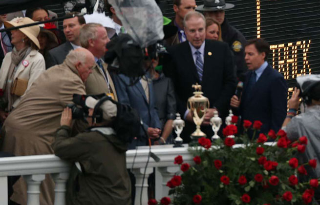 Bob Costas (right) anchored NBC's coverage of the 139th Kentucky Derby on Saturday.