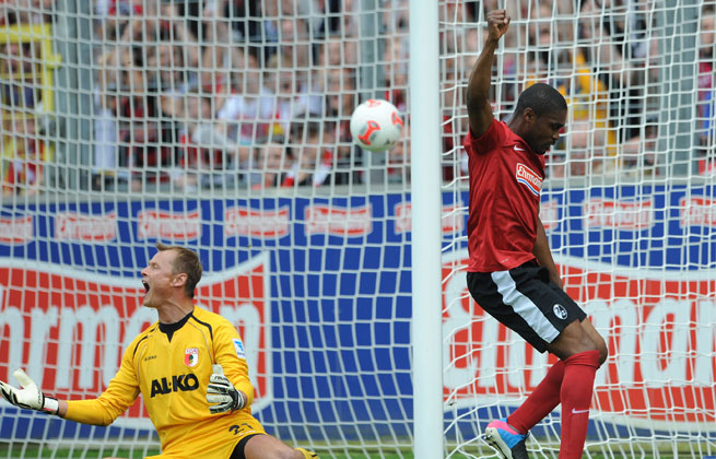 Cedrick Makiadi (right) scored on the rebound in the 31st minute after Augsburg's goalkeeper saved Jonathan Schmid's initial effort.