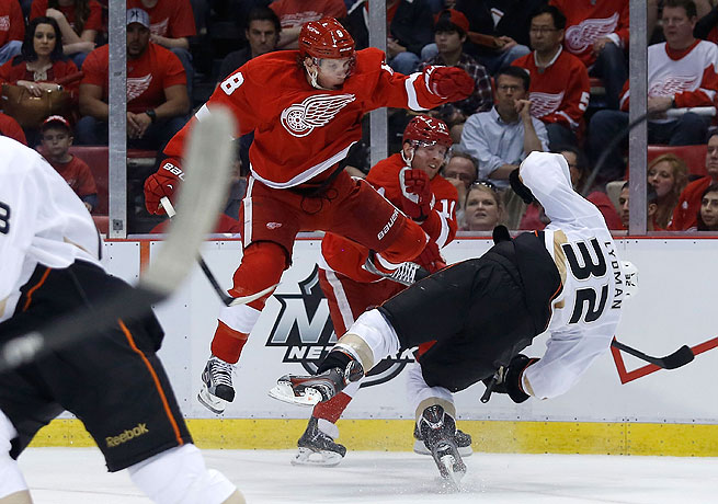 Justin Abdelkader was suspended two games for this illegal check on the Ducks' Toni Lydman.