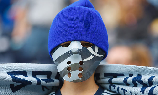 A Sporting Kansas City fans shows his support with a hockey mask in the team's 4-0 win over Chivas USA.