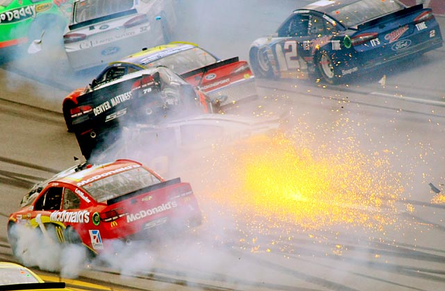 NASCAR's Sprint Cup Series Aaron's 499 race at Talladega Superspeedway on May 5 saw a dramatic collision as Brad Keselowski drove through a wreck involving Jamie McMurray (1), Kurt Busch (78) and Ryan Newman (39).