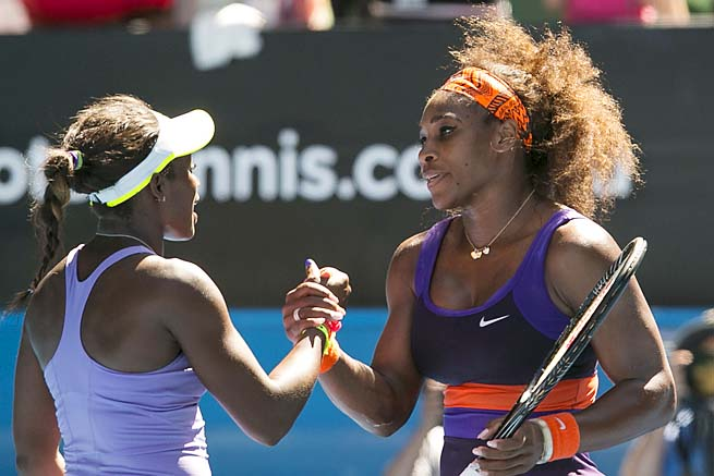 Sloane Stephens (left) beat Serena Williams in the Australian Open quarterfinals.