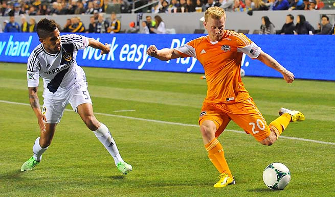 Andrew Driver (right) scored the only goal of the Dynamo's win in the 56th minute on Sunday.