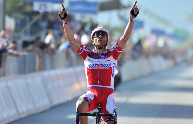 Luca Paolini broke away toward the end of the final descent to complete the 138-mile leg in 5 hours, 43 minutes, 50 seconds.