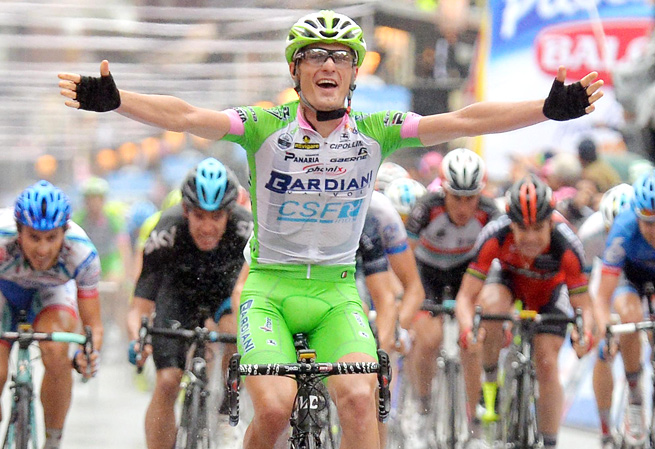 Enrico Battaglin claimed his first Grand Tour stage victory in six hours, 14 minutes and 19 seconds.