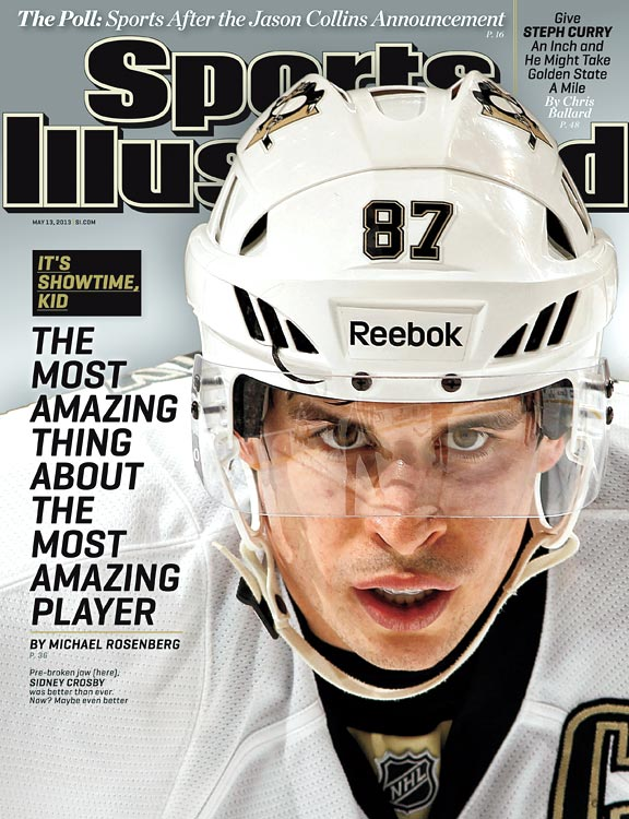 When Crosby appeared on the cover of the May 13, 2013 issue of SI, his Penguins were in a surprising first-round playoff battle with the underdog New York Islanders, who had tied the series at 2-2 after being blown out in Game 1. To make matters more nerve-wracking for Pens fans, he was hit in the neck with shot during Game 4, but was apparently uninjured.