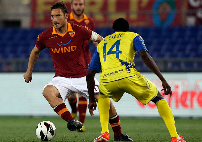 Francesco Totti (left) and AS Roma will now be hard pressed to win a top-five spot in Serie A.