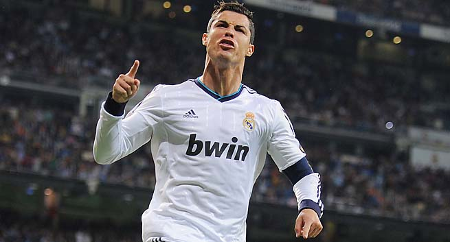 Cristiano Ronaldo scored in the 26th minute for Real Madrid against Malaga.
