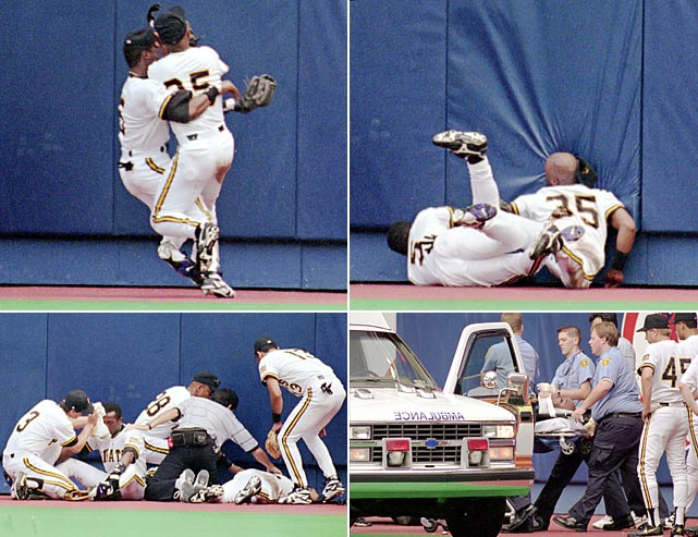 "Pirates outfielders Dave Clark and Jacob Brumfeld collided while chasing a flyball, leaving Clark, who hit the outfield fence face-first, unconscious and suffering a broken collarbone. Brumfeld lost a tooth. Manager Jim Leyland called it ""one of the worst things I've ever seen on the baseball field."""