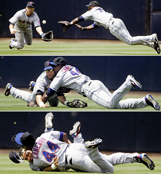Mets outfielders Mike Cameron and Carlos Beltran collided face-to-face when both dove after a fly ball in San Diego. Cameron suffered facial fractures and a concussion and was lost for the season. Beltran was not as seriously hurt but was diagnosed with a concussion.
