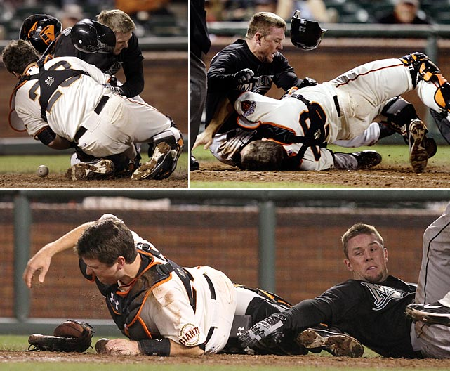 Buster Posey had helped the Giants win a World Series the year before while winning Rookie of the Year honors but his 2011 season ended abruptly when the Marlins' Scott Cousins plowed him over at home plate. Posey suffered a broken fibula and torn ankle ligaments and was lost for the season. He returned the next year to win MVP and help the Giants win the World Series again.