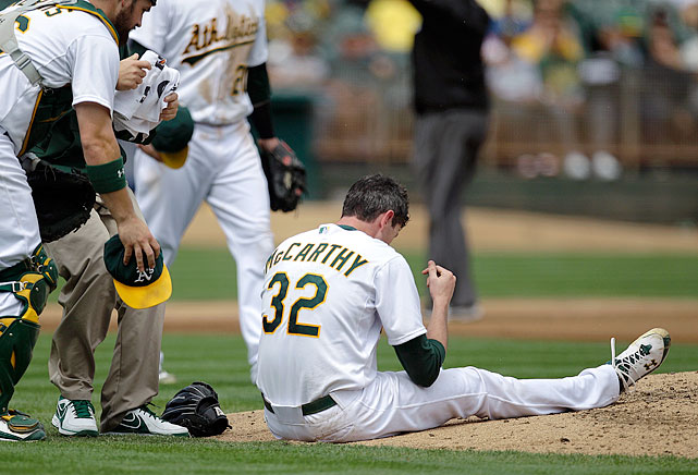 After being beaned by a hard line drive from the Angels' Erick Aybar, it appeared the A's Brandon McCarthy would be OK. He walked off under his own power but it turned out he had a brain contusion, a skull fracture and an epidural hemorrhage. He had emergency surgery and though he missed the rest of the season, he returned to the majors in 2013 with the Diamondbacks.