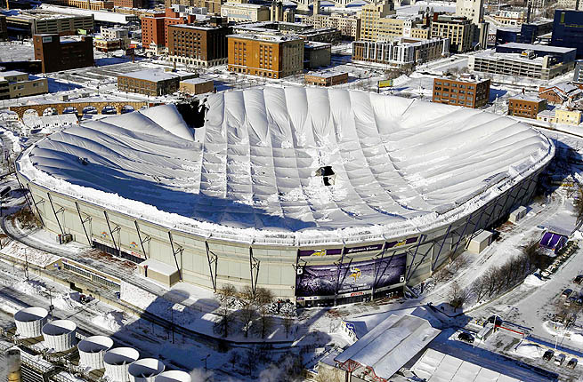 The Vikings had to play at the University of Minnesota field when the HHH Dome collapsed in 2010.