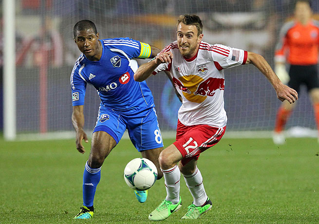 The Red Bulls' Eric Alexander (right) and Patrice Bernier vie for a ball during New York's 2-1 win.