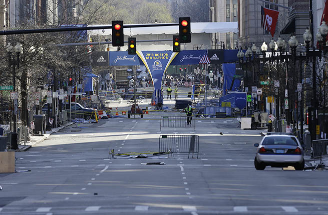 Near the finish line of the Boston Marathon explosions, which killed at three and injured more than 140.
