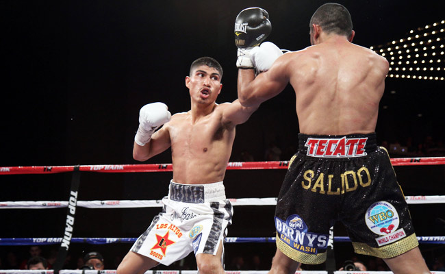 Mikey Garcia (left) won the WBO featherweight title by defeating Orlando Salido in January.