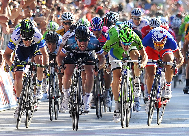 Mark Cavendish (center, black helmet) dedicated his victory to Wouter Weylandt, who died two years ago in a crash.