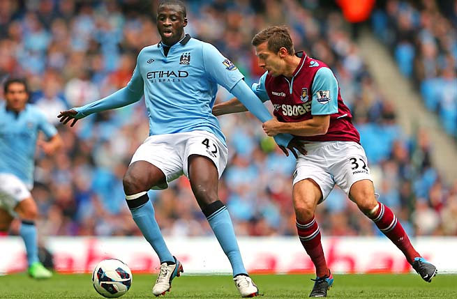 Yaya Toure and Manchester City are in second place in the Premier League.