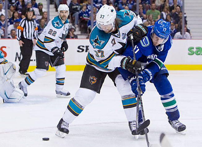 Forward Adam Burish has been a key player for the Sharks both on and off the ice this season.