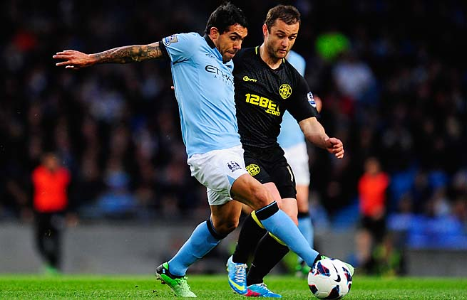 Carlos Tevez scored in City's 1-0 win over Wigan in Premier League action on April 17.