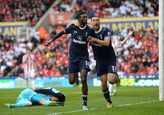 Emmanuel Adebayor (left) slotted home in the 83rd minute to give Spurs a win over Stoke.
