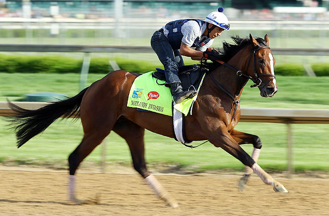 Normandy Invasion took the lead into the stretch of the Kentucky Derby before finishing fourth.