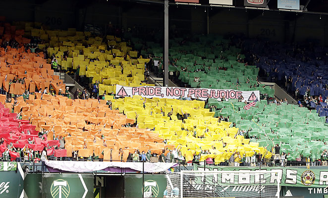 Portland supporters put together a display against homophobia before their game against Chivas USA.