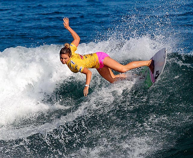 Coco Ho of Hawaii carves a wave as she competes in the Billabong Rio Pro in Barra da Tijuca Beach in Brazil on Saturday.