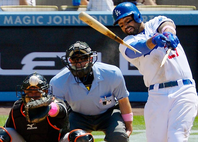 The Dodgers' Matt Kemp shatters his bat and gets his 1,000th hit in one swing in a 5-3 win over the Marlins on Sunday in Los Angeles.