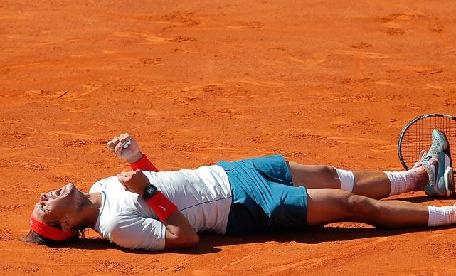 Rafael Nadal celebrates after defeating Stanislas Wawrinka in the Madrid Open final Sunday.