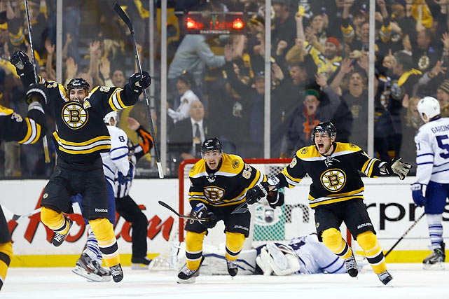 Trailing by three goals in the third period and still by two with less than 90 seconds left in their season, the Bruins scored twice in a span of 31 seconds to tie it and then eliminated the Maple Leafs on Patrice Bergeron's goal at 6:05 of overtime to win 5-4 in Game 7. According to the Elias Sports Bureau, the Bruins are the first team in NHL history to win a Game 7 after trailing by three goals in the third period.