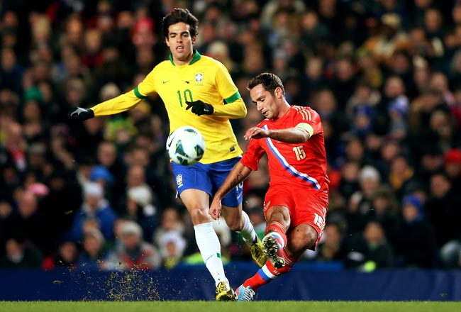 Kaka played during Brazil's friendly vs. Russia in March but was not picked for the Confederations Cup.