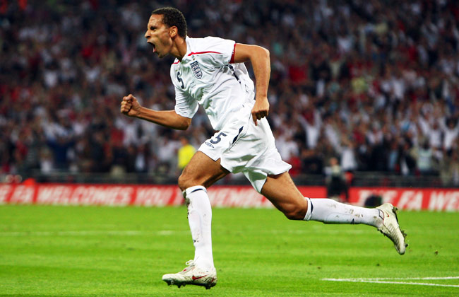 Rio Ferdinand scored three goals during his international career, most recently vs. Kazakhstan in 2008.